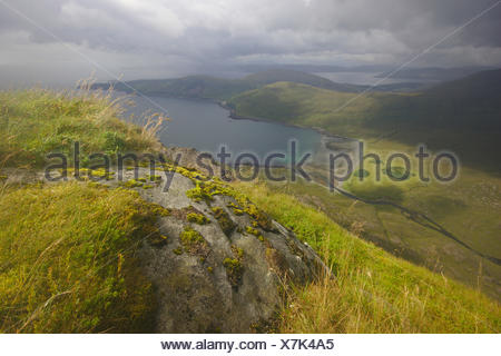 view from Sg¨rr Alasdair (Cuillin Hills) over the bay to Elgol, United Kingdom, Scotland, Isle of Skye - Stock Photo