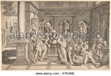 The birth of Saint John the Baptist. Artist: Giulio Bonasone (Italian, active Rome and Bologna, 1531-after 1576); Publisher: Antonio Lafreri (French, - Stock Photo