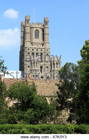 Ely Cathedral, west Tower, Cambridgeshire England UK English medieval cathedrals - Stock Photo