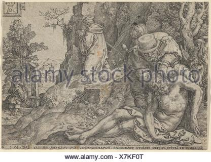 The Good Samaritan Tending the Traveller's Wounds with Oil and Wine or The Priest and the Levite Passing, from The Parable of the Good Samaritan. - Stock Photo
