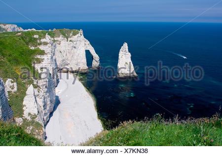 etretat cliffs,normandy - Stock Photo