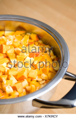 Sliced Hokkaido pumpkin in cooking pot, close-up - Stock Photo