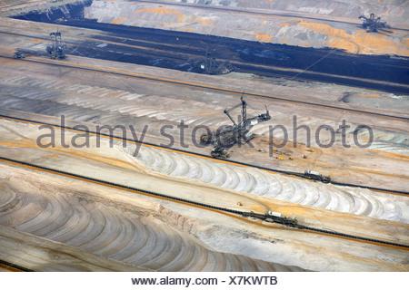 brown coal surface mining, Germany, North Rhine-Westphalia, Hambach - Stock Photo