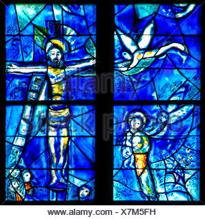 fine arts, Chagall, Marc (1887 - 1985), stained-glass window, created in the period of reconstruction 1978-1985, detailed view, church St. Stephen, Mainz on the Rhine, Rhineland-Palatinate, Artist's Copyright must also be cleared - Stock Photo