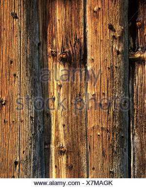 Weathered old wood barn, close-up - Stock Photo