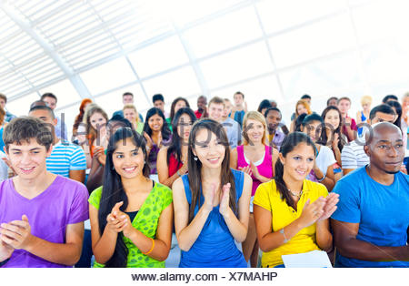 Diverse and Happy People Applauding - Stock Photo