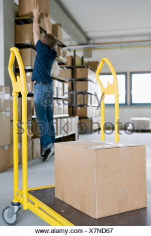 Man filing cardboard boxes in storage - Stock Photo