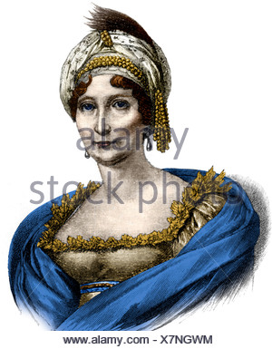 Buonaparte, Laetizia, 24.8.1750 - 2.5.1836, Corsican noblewoman, portrait, wood engraving, 19th century, later coloured,  Letiti - Stock Photo