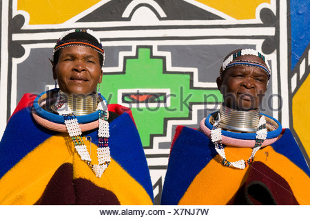 Ndebele women wearing traditional dress, Botshabele Mission Station, Limpopo, South Africa, Africa - Stock Photo