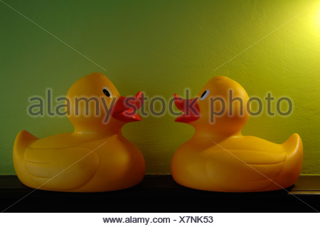 Two rubber ducks, bathroom decorations Stock Photo: 48715029 - Alamy