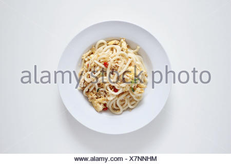 Bowl with fried Japanese Udon noodles - Stock Photo