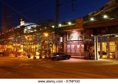 S-Bahnhof Hackescher Markt station with illumination for a pub at night, Mitte, Berlin, Germany, Europe - Stock Photo