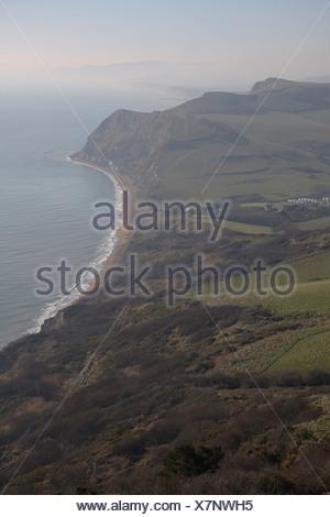 View of the Dorset coastline from Golden Cap. - Stock Photo