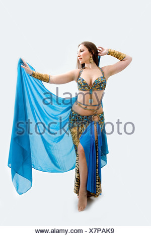 Belly dancer in blue - Stock Photo