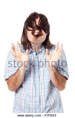 long, funny, hair, man, guy, humans, human beings, people, folk, persons, - Stock Photo