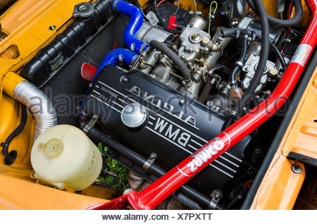 View of the engine compartment of a BMW 2002 Ti Alpina, built in 1969, festival of classic cars 'Retro Classics meets Barock' - Stock Photo