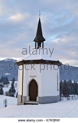 Kapelle im Winter, Deutschland, Oberbayern - Stock Photo