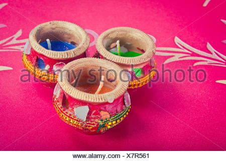 indian decorative candle pot - Stock Photo