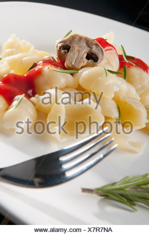 Close-up of conchiglie pasta with mushrooms - Stock Photo