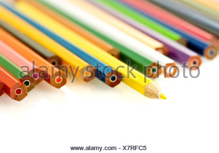 various of colored penciles over white. Sahllow DOF - Stock Photo