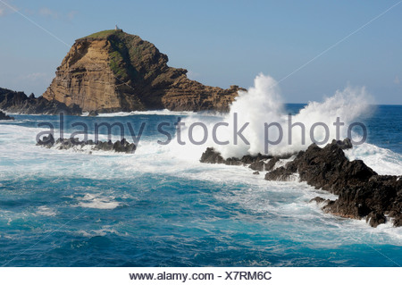 Coastline, Porto Moniz, Madeira, Portugal, Atlantic Ocean - Stock Photo
