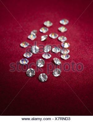 USA, Illinois, Metamora, Diamonds on red velvet - Stock Photo