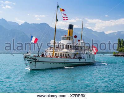 Steamboat on the Lake Geneva near Montreux - Stock Photo