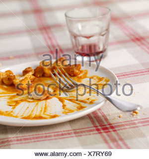 Left-overs on a plate of Pieds paquets - Stock Photo