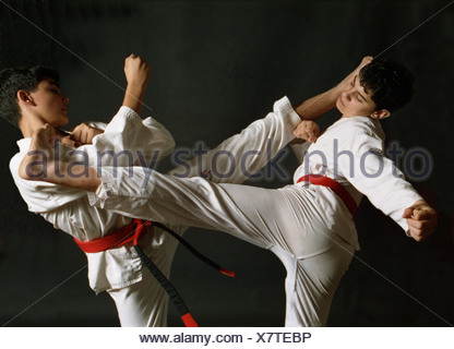 Martial Arts. Free sparring in Taekwondo. - Stock Photo