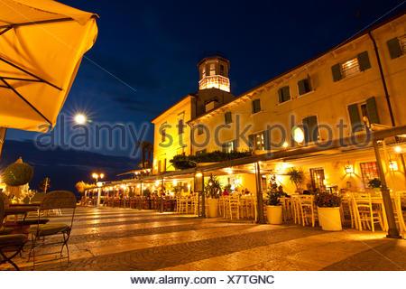 Lazise at night - Stock Photo