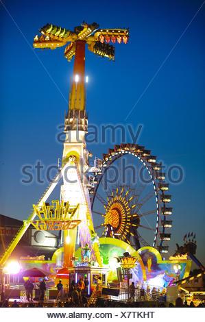 looping - carousel at Oktoberfest in Munich - Stock Photo