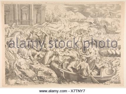 The abduction of Helen; battle scene on a shore with two men pulling Helen into a boat at center and another man pulling on her drapery in the - Stock Photo
