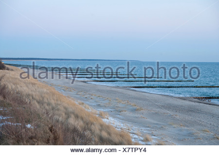 Groynes in Baltic Sea, Baltic sea spa Ahrenshoop, Mecklenburg-Western Pomerania, Germany - Stock Photo