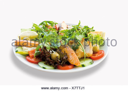 Fried fish salmon garnished with mixed salad and pike-perch in plate on white background - Stock Photo