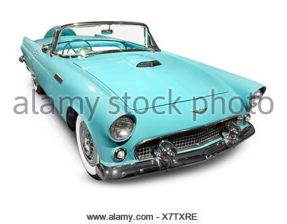Sky-blue 1956 Ford Thunderbird classic retro car isolated on white background - Stock Photo