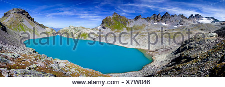 Wildsee Lake on Pizol Mountain in Heidiland near Bad Ragaz, Swiss Alps, Switzerland, Europe - Stock Photo