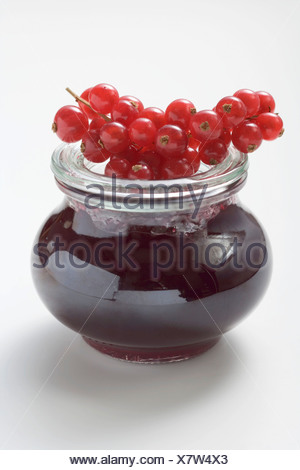 Jar of redcurrant jelly, fresh redcurrants on top of jar - - Stock Photo