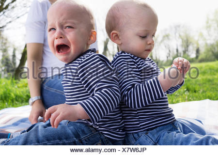 Baby twin brothers back to back on picnic blanket in field - Stock Photo
