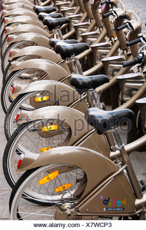 Lined-up bicycles, bicycle hire for residents and tourists, Paris, France, Europe Stock Photo
