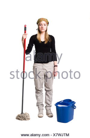 Cleaning lady - Stock Photo