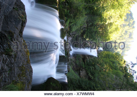 Switzerland Europe Brienz Giessbach falls Bernese Oberland Canton Berne Bern Giessbachfalle Waterfall landsca - Stock Photo