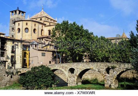 Queralt bridge, bridge, Romanesque, Century XI, Vic Cathedral, Cathedral, Vic, Spain, Catalunya, Catalonia, Barcelona, Osona, - Stock Photo