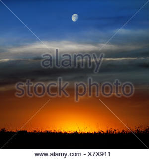 Spain, Moon over sunset - Stock Photo