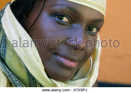 Portrait of a young woman with a headscarf, Uganda, Entebbe - Stock Photo