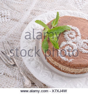 chocolate cakes with nut filling - Stock Photo
