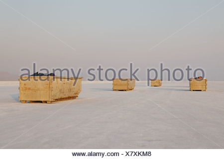 Bonneville Salt Flats Utah USA yellow garbage containers Bonneville Salt Flat - Stock Photo