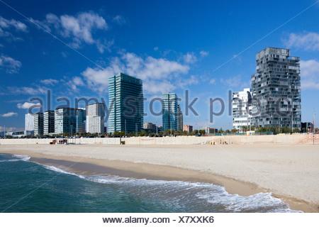 Spain, Europe, Catalunya, Barcelona, Diagonal Mar, Water front, beach - Stock Photo