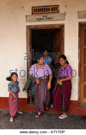 School of Santiago Atitlan, Lago de Atitlan, Guatemala, Central America - Stock Photo