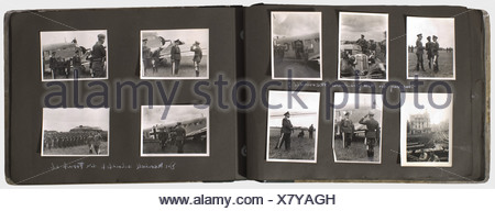 A memento album for a Luftwaffe staff officer of the 3rd Luftflotte, with 133 photos of different sizes, some inscribed Portraits of General Sperrle as Commander-in-Chief West 1939 and some of his staff officers, including his Chief of Staff, GenMaj Ritter von Pohl. Chief Engineer of the 3rd Luftflotte, Staff Eng. Scheunemann(?), Group Ia (Operations Chief) Colonel Koller, Chief Quartermaster Colonel Stein, Staff Judge Advocate Dr. Eckerle, and others. Inspections by Göring, Lörzer, Udet, and Milch. Pictures of aircraft, shot-down enemy planes, heavy and light , Additional-Rights-Clearences-NA - Stock Photo