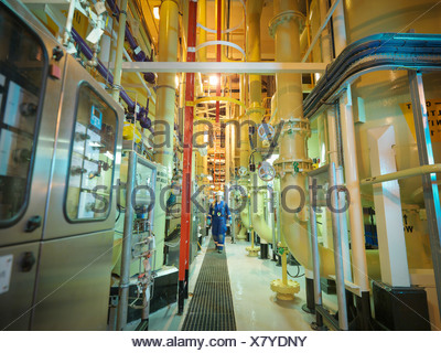 Female chemist walking amongst the pipework in power station - Stock Photo